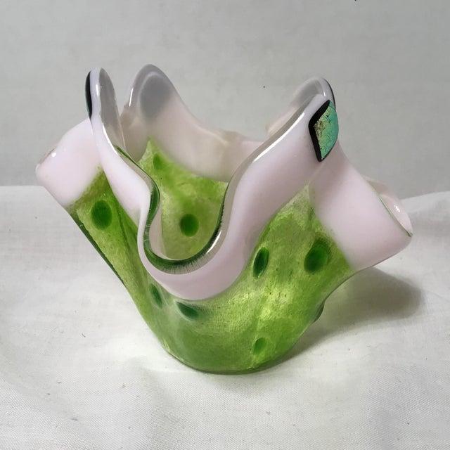 Handmade Clover Green Glass Vase For Sale - Image 11 of 11