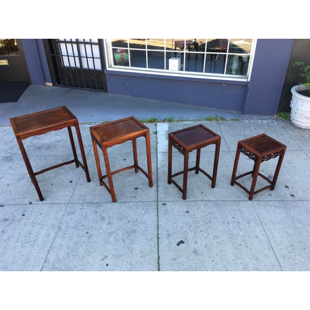 Brown 20th Century Chinese Rosewood Nesting Tables - Set of 4 For Sale - Image 8 of 12