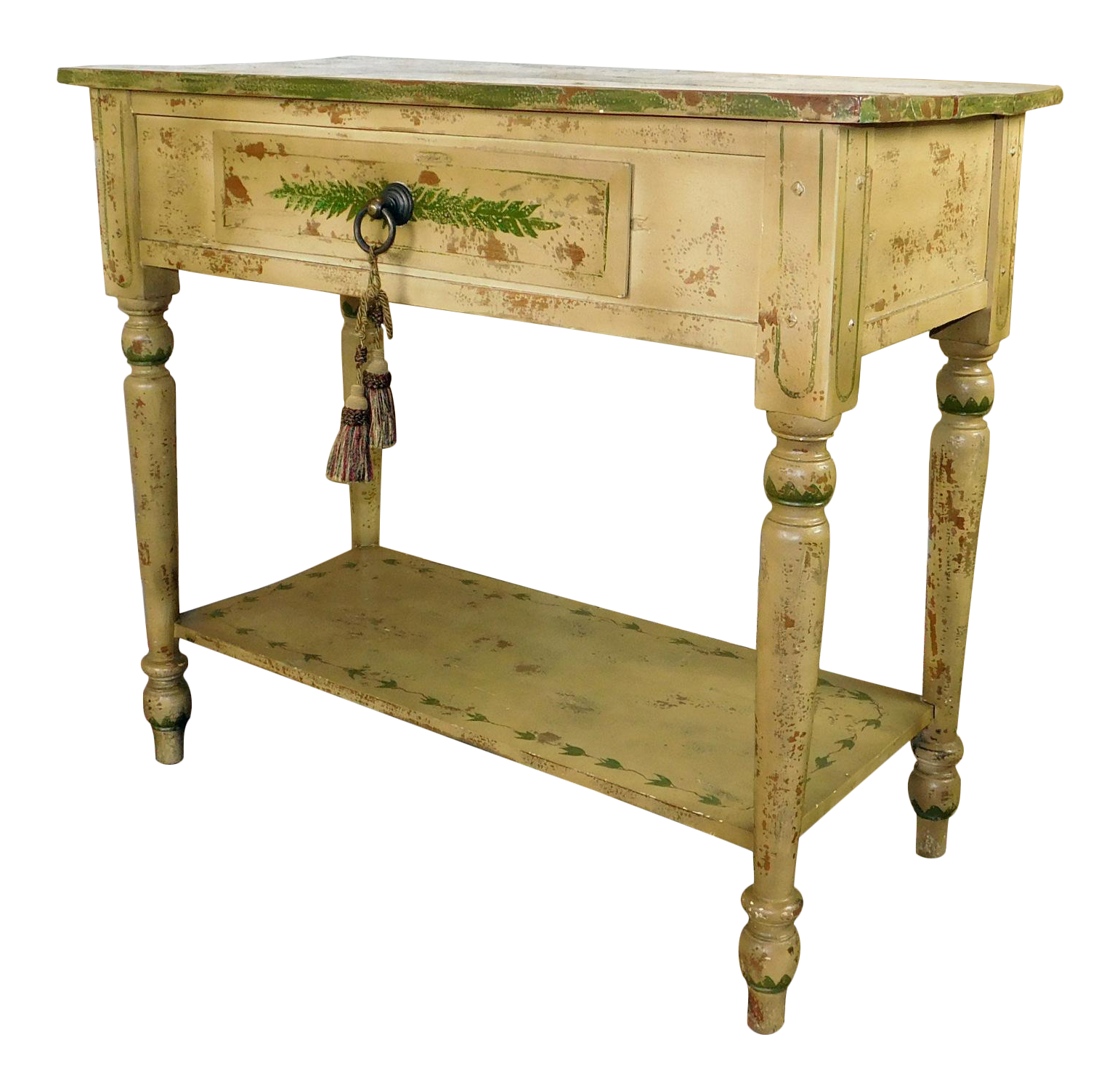 Stickley Hand Painted Distressed Single Drawer Table