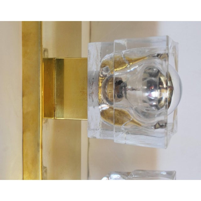 Murano Glass Cube Brass Sconces / Flush Mounts by Fabio Ltd For Sale - Image 9 of 11