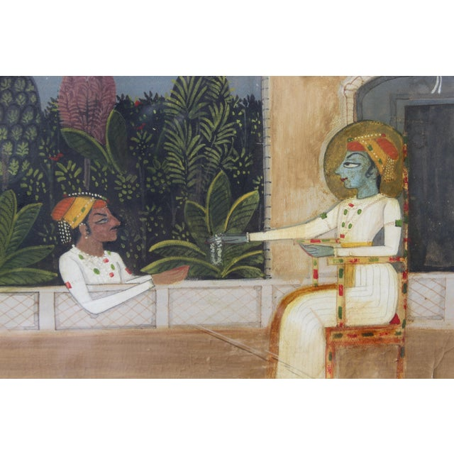Asian Nice 19/18 C. Indian Gouache Painting For Sale - Image 3 of 7