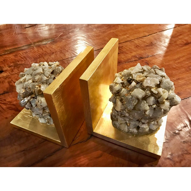 Quartz Stone Gold Leaf Bookends - A Pair - Image 5 of 9