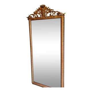1880 Napolean III Gilt Wood Mirror; cartouche carving, twisted rope frame