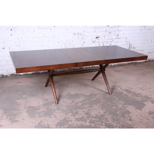 Widdicomb Robsjohn Gibbings for Widdicomb X-Base Walnut Dining Table, Newly Restored For Sale - Image 4 of 11