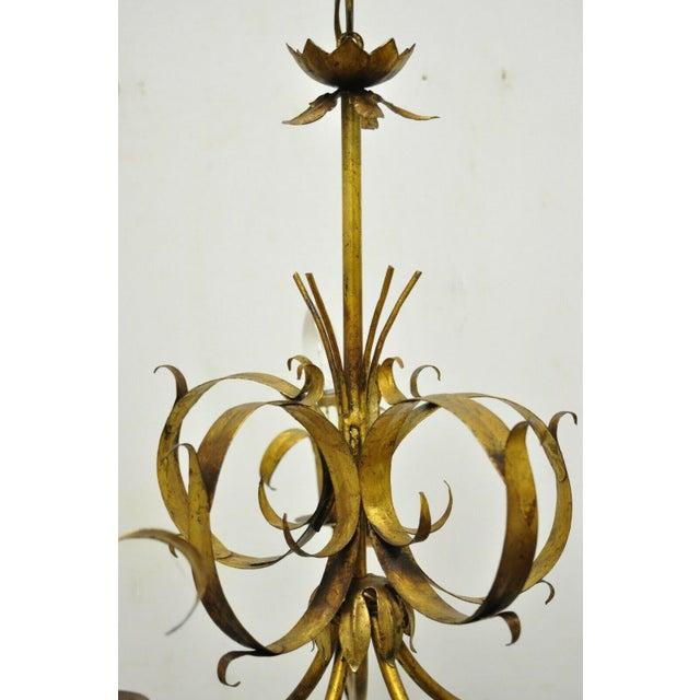 Vintage Ferrocolor Italian Hollywood Regency Gold Gilt Tole Metal Chandelier For Sale - Image 4 of 11