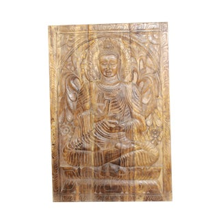 Vintage Buddha Wall Panel Indian Hand Carved Wall Sculpture For Sale