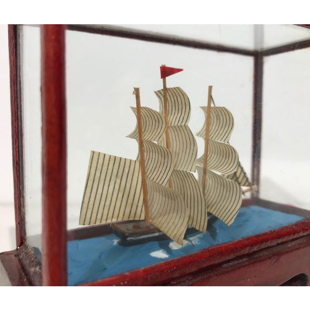 Miniature Model Sailing Ship in Wood & Glass Case - Image 10 of 11