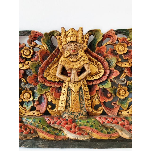 Asian Vintage Thai Wood Carving Wall Art For Sale - Image 3 of 7