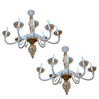 1980s Italian Gold Accented Murano Glass Chandeliers - a Pair