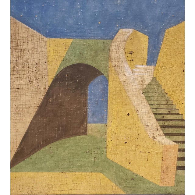 De Chirico Style Painting of Adobe Steps by Jacques Lamy For Sale In Dallas - Image 6 of 8