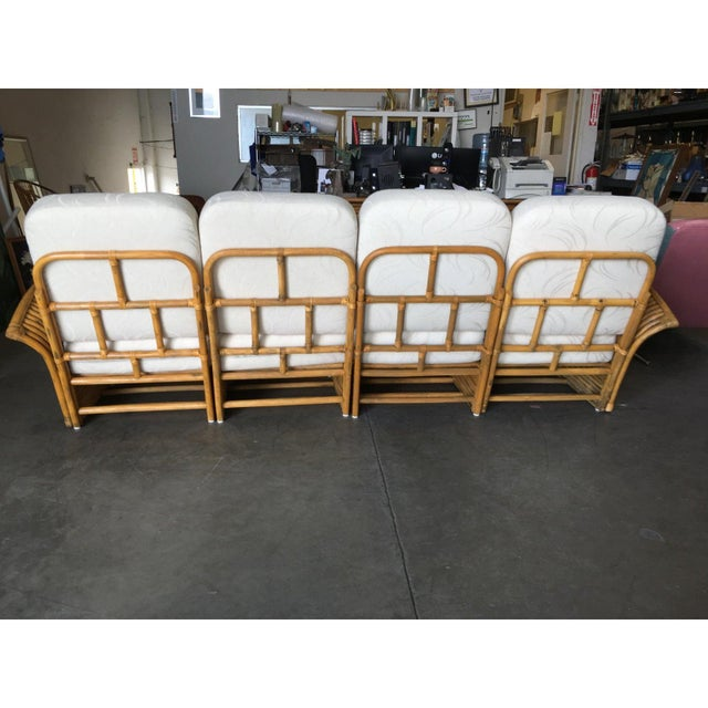 Wood Restored Art Deco Rattan Fan Arm Three-Seat Sofa & Lounge Chair Livingroom Set For Sale - Image 7 of 11