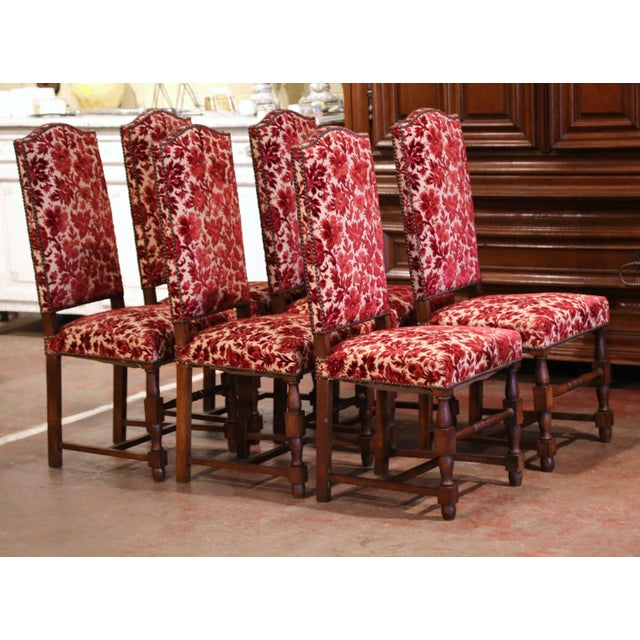 Early 20th Century Early 20th Century French Louis XIII Carved Oak Walnut Dining Chairs-Set of Six For Sale - Image 5 of 9