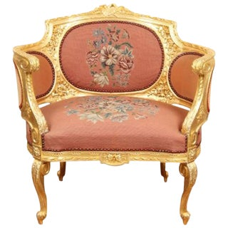20th Century Early American Carved and Gilt Bergere Armchair