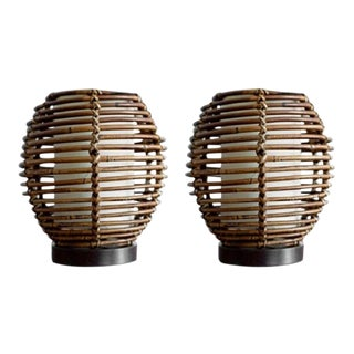 1950s French Rattan Table Lamp - a Pair For Sale