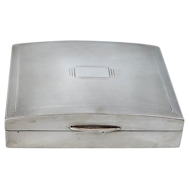 Art Deco English Sterling Cigarette Box - D. 1940 For Sale In Los Angeles - Image 6 of 6