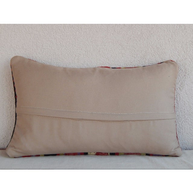 1990s Handmade Turkish Kilim Lumbar Pillow For Sale - Image 5 of 6