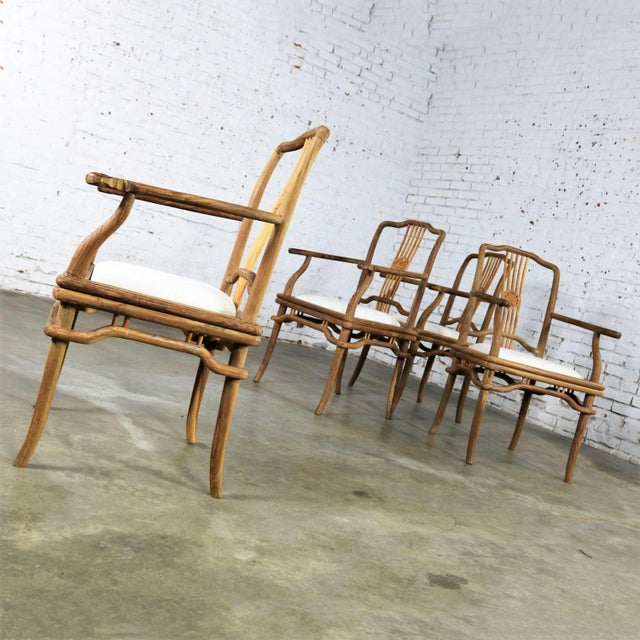 Set of Four Natural Teak Indonesian Ming Style Dining Armed Chairs With Upholstered Seats For Sale - Image 4 of 13