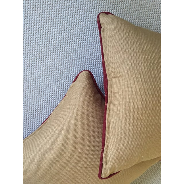 Red Burgundy Twill Check Pillows - A Pair For Sale - Image 8 of 9