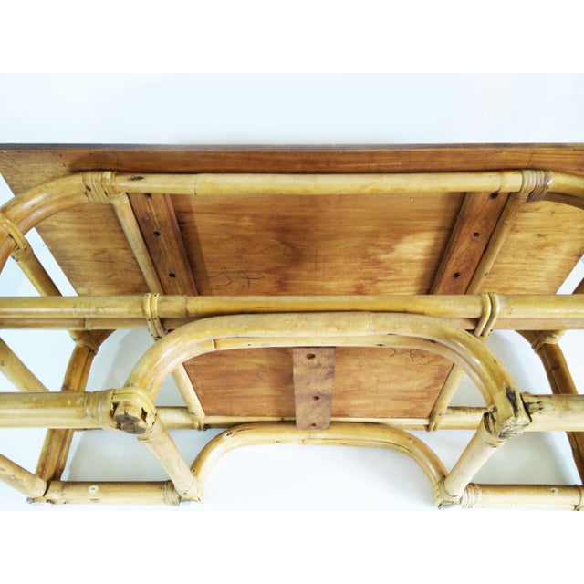 Brown 1970s Boho Chic Bamboo Coffee Table For Sale - Image 8 of 9