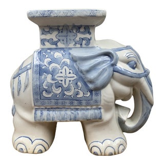 Vintage Blue and White Ceramic Elephant Plant Stand For Sale