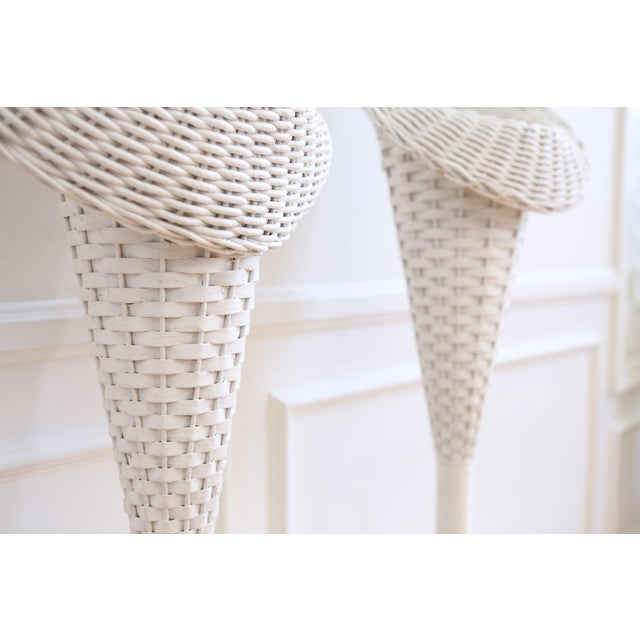 Vintage White Wicker Basket Planter Stands - A Pair For Sale - Image 5 of 8