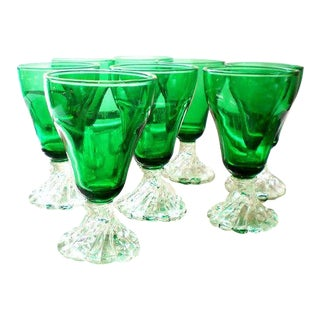 Anchor Hocking Green Juice Glassware - Set of 8 For Sale