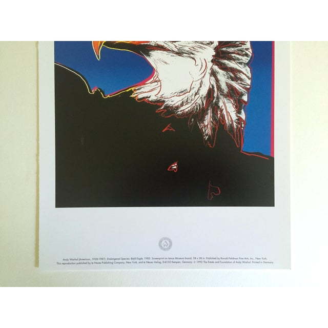 """Andy Warhol Andy Warhol Estate Rare Vintage 1992 Endangered Species Collector's Lithograph Pop Art Print """" Bald Eagle """" 1983 For Sale - Image 4 of 10"""