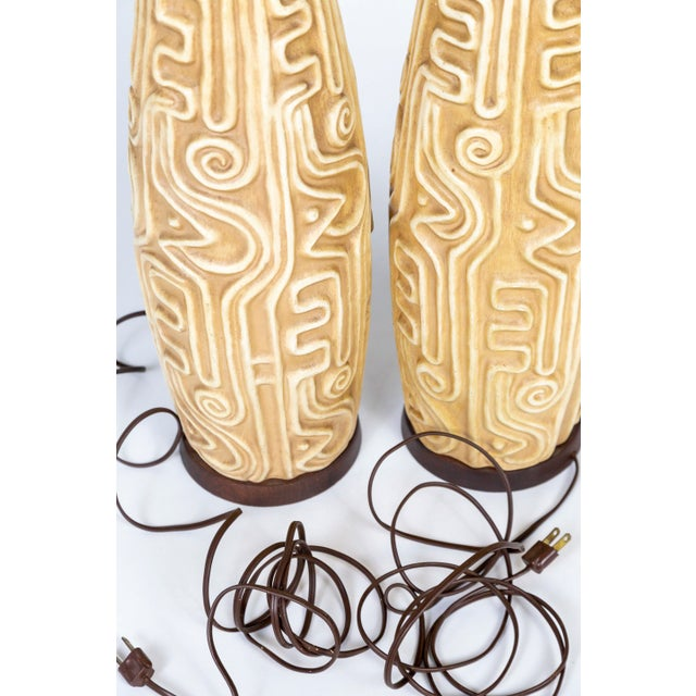 Metal Tall Mid-Century High Relief Carved Tan Pottery Lamps - a Pair For Sale - Image 7 of 11