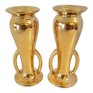 22kt. Gold Overlay on Porcelain Double Handled Vases - a Pair For Sale