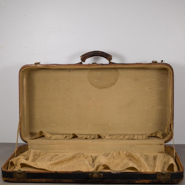 Animal Skin Antique Luggage With Original Travel Stickers C.1900-1930 For Sale - Image 7 of 11