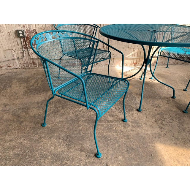 Vintage Wrought Iron Patio Set In The Manner Of Russell Woodard