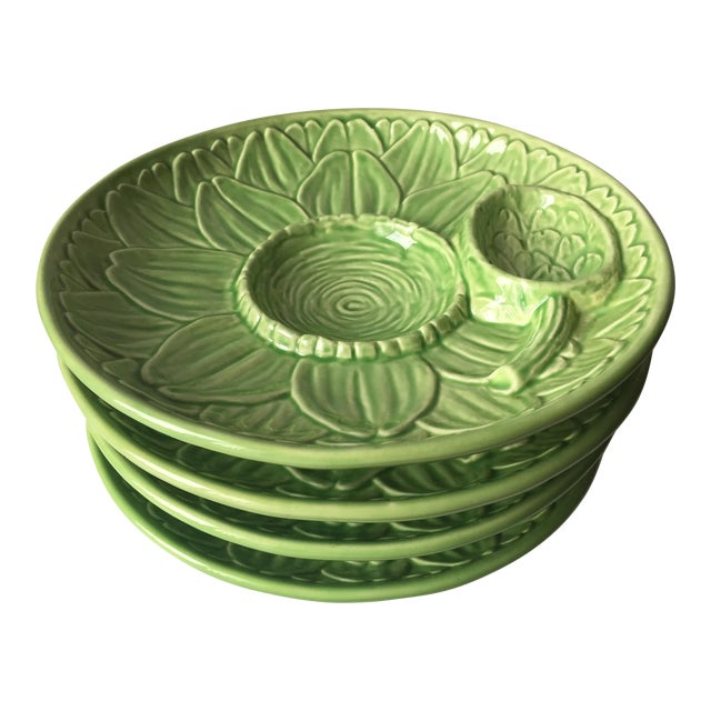 Vintage Olfaire Faience Artichoke Dishes - Set of 4 - Image 1 of 8