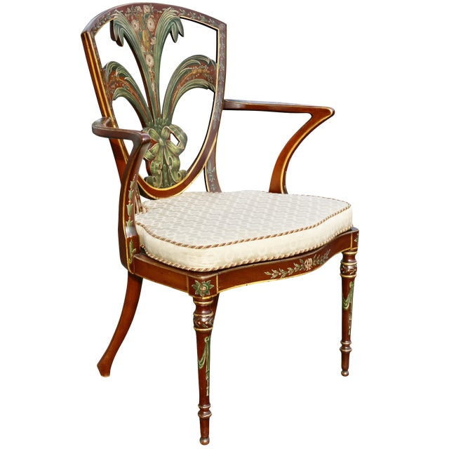 Edwardian Satinwood and Painted Armchair For Sale