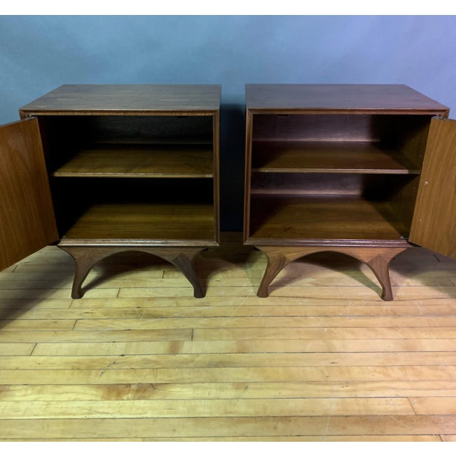 Gold 1960s American Modern Walnut and Brass Nightstands For Sale - Image 8 of 10