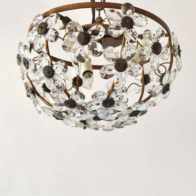 Early 20th Century Mid 20th Century Italian Floral Crystal Flush Mount For Sale - Image 5 of 5