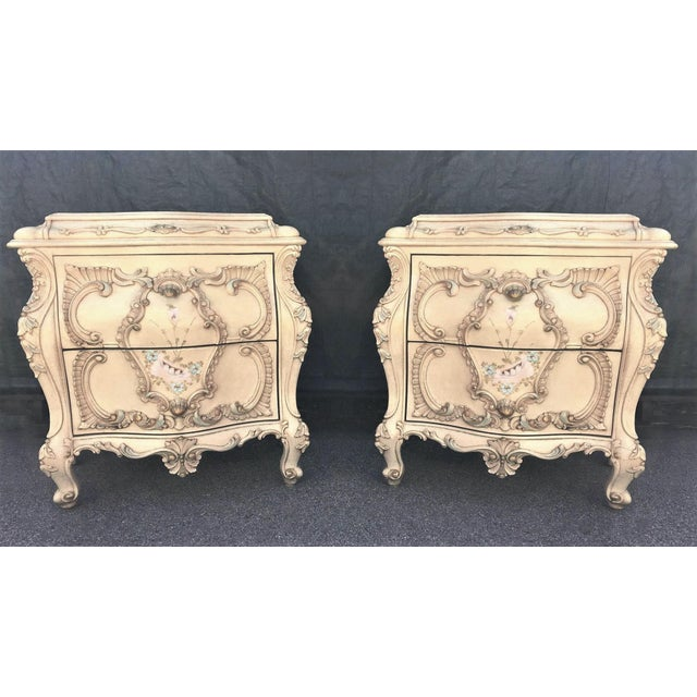 Large Rare Romantic Antique Cream French Rococo Ornate Fancy Bedroom Pair of Nightstands / End Tables For Sale In New York - Image 6 of 6