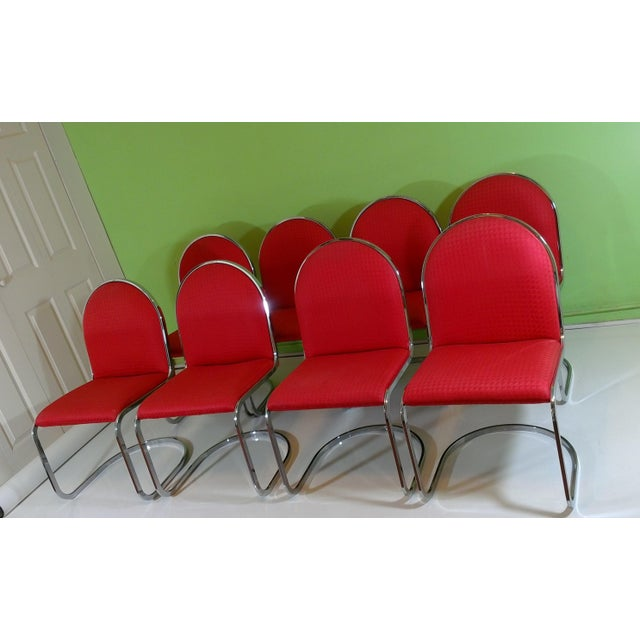Chrome Red Upholstered Dining Chairs - Set of 8 - Image 10 of 11