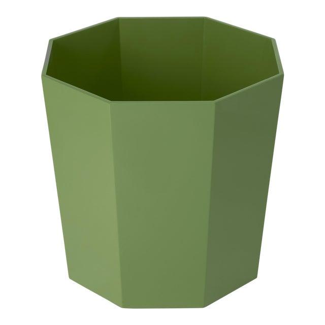 Miles Redd Collection Octagonal Waste Basket in Lettuce Green For Sale