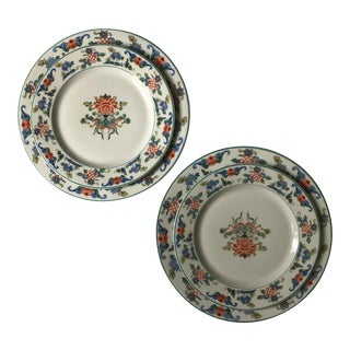 Early 1900's Chinoiserie Motif Dinner & Salad Plates - Set of 2 For Sale