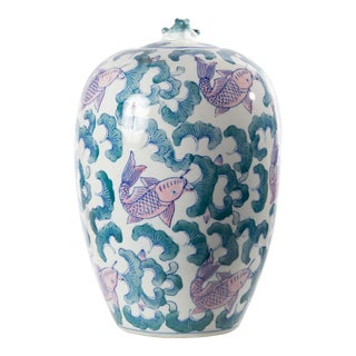 Koi Fish Vase With Frog Lid For Sale