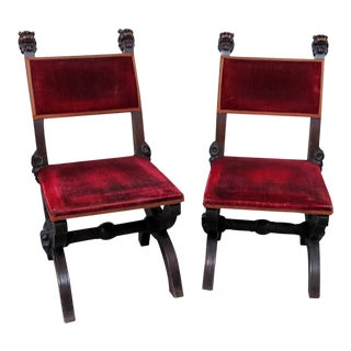 Victorian Griffin Lolling Chairs- A Pair For Sale