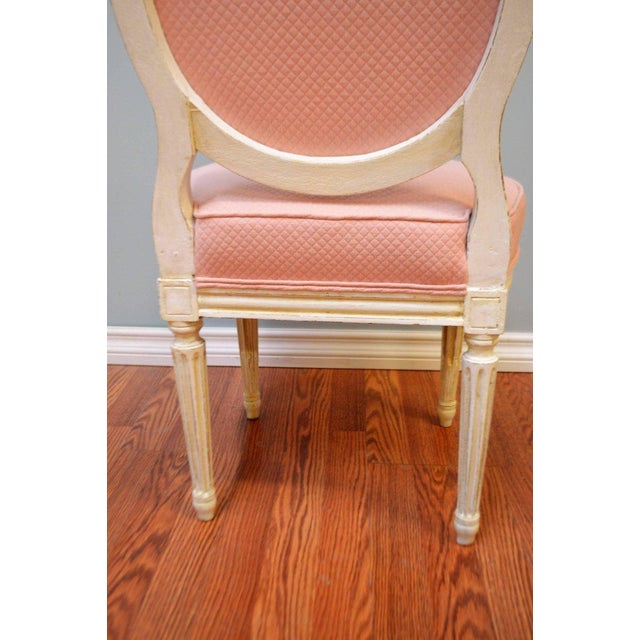 Louis XVI Style Painted Boudoir Chairs Newly Upholsted in a Pink Fabric - a Pair For Sale In Buffalo - Image 6 of 9