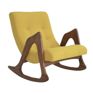 Mid-Century Modern Yellow Rocking Chair