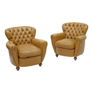 Italian Tan Leather Button Back Armchairs - a Pair