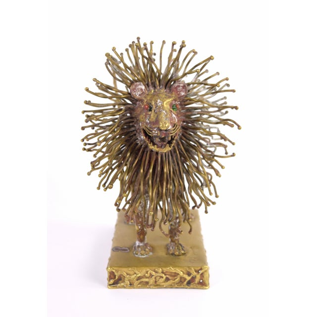 Pal Kepenyes (Hungary/Mexico, b. 1926) Vintage Modern Brutalist sculpture of lion with glass eyes. Circa 1970. Signed on...