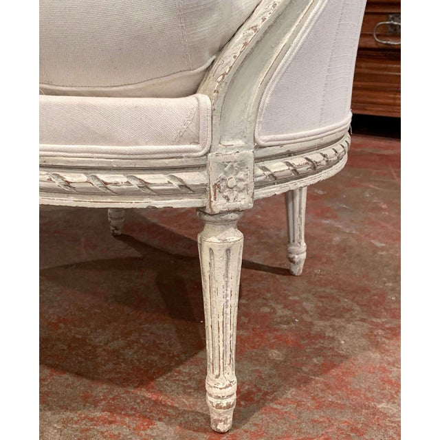19th Century Louis XVI Carved Painted Bergere Armchair For Sale - Image 4 of 13