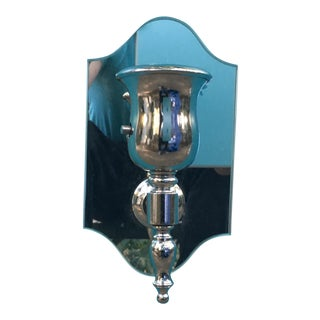 Single Arm Polished Nickel Wall Sconce With Curved Mirror Plate