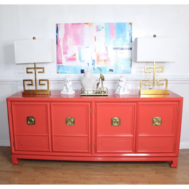 Thomasville Thomasville Lacquered Hollywood Regency Chinoiserie Credenza For Sale - Image 4 of 11