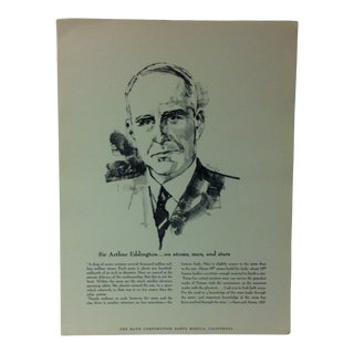 """1962 """"Sir Arthur Eddington - on Atoms - Men and Stars"""" The Rand Corporation Famous People in History Print For Sale"""
