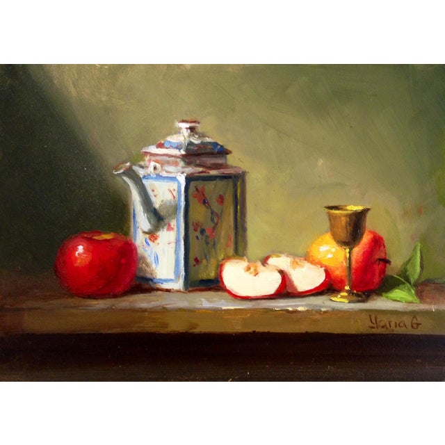 Still Life Painting with Apples, Teapot & Goblet - Image 1 of 3